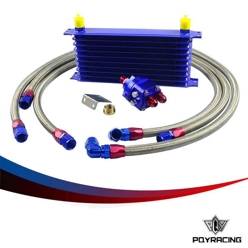 Здесь можно купить   PQY RACING- Universal OIL COOLER 10 offer 10AN Aluminum Engine Transmission Oil Cooler Relocation Kit Автомобили и Мотоциклы