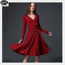 Осень 2017 г. новые пикантные с длинными рукавами v-образным вырезом платье Для женщин до колена Длина элегантный лук талии раза плиссированного трикотажа деловая модельная одежда для вечеринок Vestido