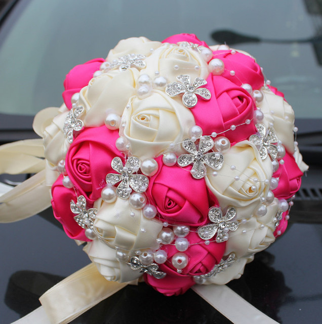 New Arrival Silk Rose Bouquets Wedding Bouquet The Flowers Hot Pink Private Custom