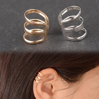 EY593 europeo y americano retro hueco del estilo de U-en forma de hueso del oído pendientes de clip pendientes largos aretes pendientes invisible sin orejas perforado oreja clip 1 unids