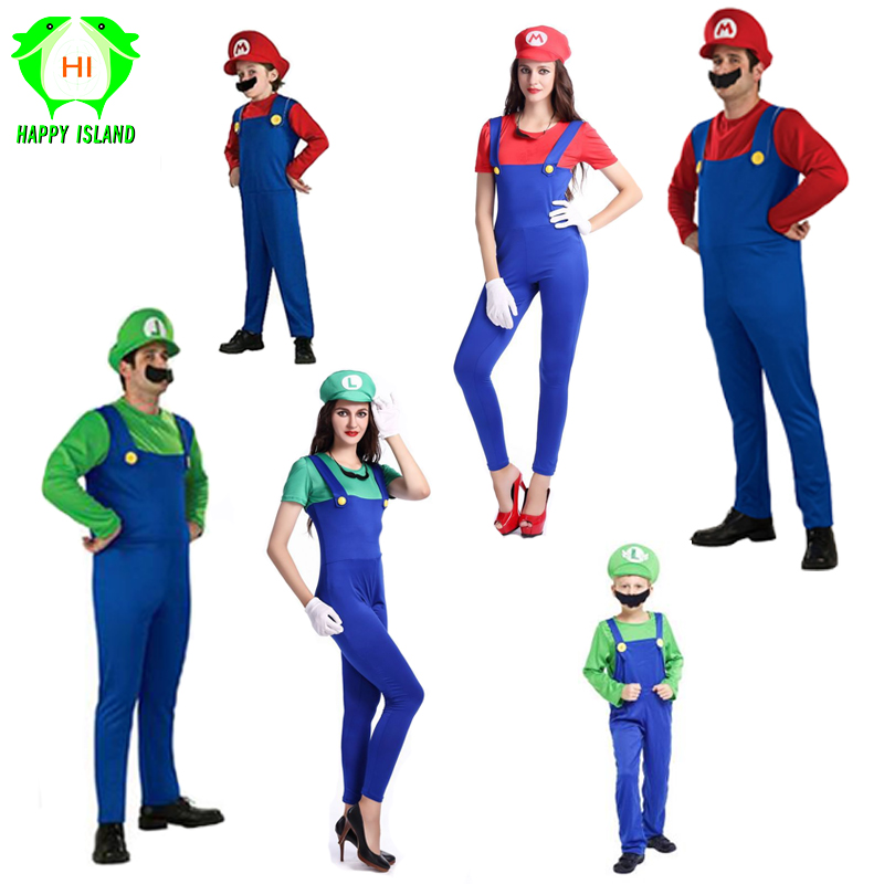 2019 New Super Mario Cosplay Costume Couple Wear Super Mario Suits Women Dress Adults Men Kids Family Pack Fancy Party Dress Up