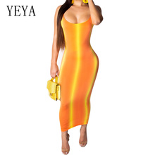 YEYA Gradient Striped Sexy Spaghetti Strap Bodycon Dress Summer Women Neon Orange O Neck Sleeveless Backless Beach Party