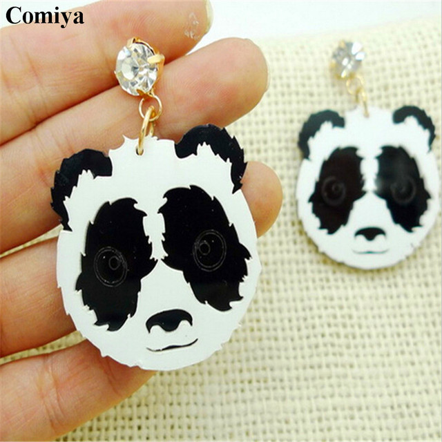 Mujer new arrival gothic rock punk style rhinestone big drop earring long animal panda shaped white color pendant dangle brinco