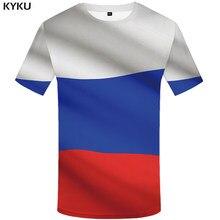 32853043d022f21 Kyku Марка Россия футболка российский флаг Футболки 3D футболка Для мужчин  одежда сексуальный мужской 2018 Китайский
