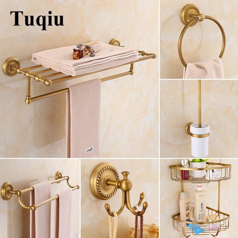 Bathroom Accessories ,Corner Shelf,Toilet Brush Holder,Paper Holder,Towel Holder,towel Rac, Bathroom Hardware Set Brass Antique