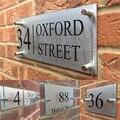 Подгонянные прозрачные акриловые дома номер дома знаки двери плиты с серебряной алюминиевой задней панелью