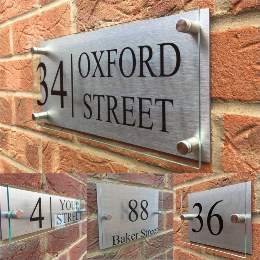 Customized Transparent Acrylic House Number House Signs Door Plates Plaques With Silver Aluminum Backing Panel