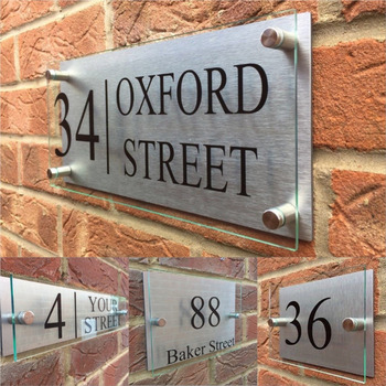 Customized Transparent Acrylic house number House Signs Door Plates Plaques with Silver Aluminum Backing Panel custom house number acrylic house sign with house number