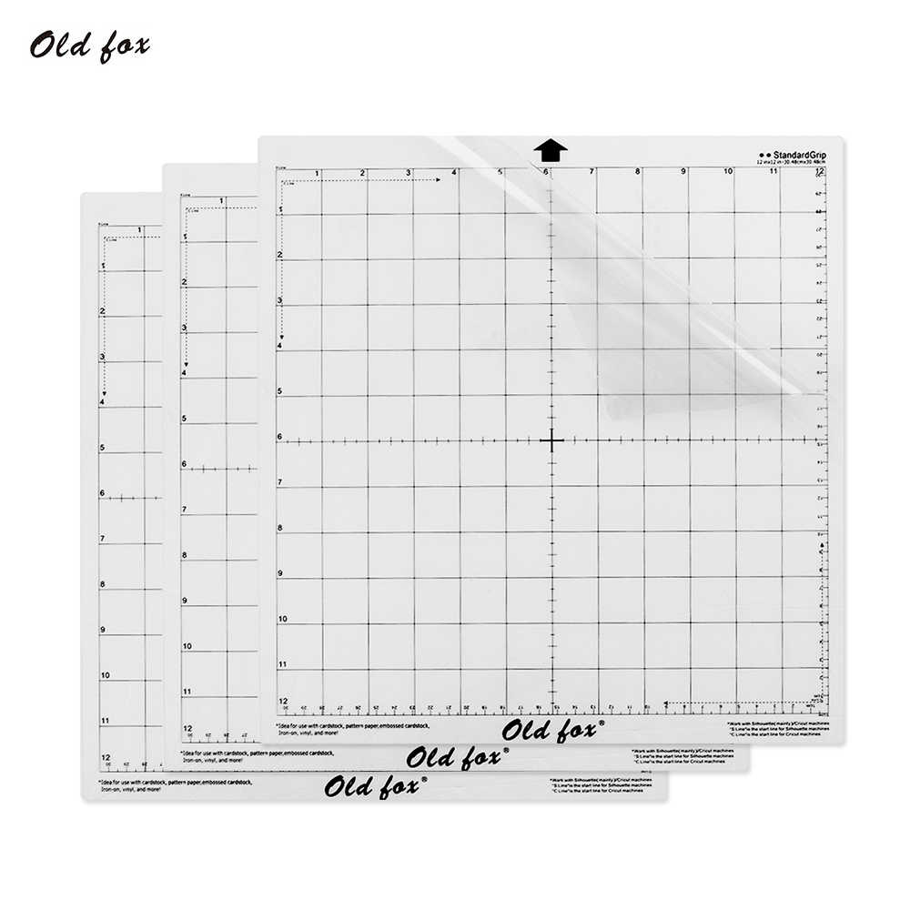 3pcs Replacement Cutting Mat Transparent Adhesive Mat with Measuring Grid for Silhouette Cameo Plotter Machine