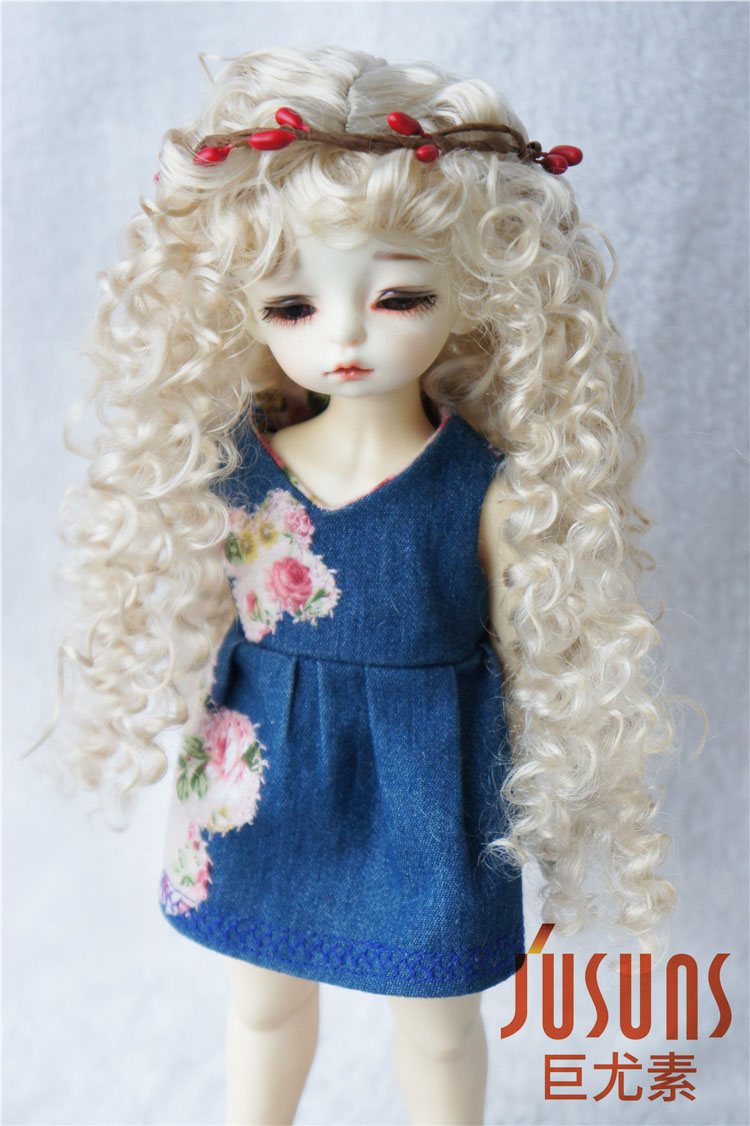 JD145 1/6 YOSD synthetic mohair doll wigs BJD  6-7inch Long curly BJD hair