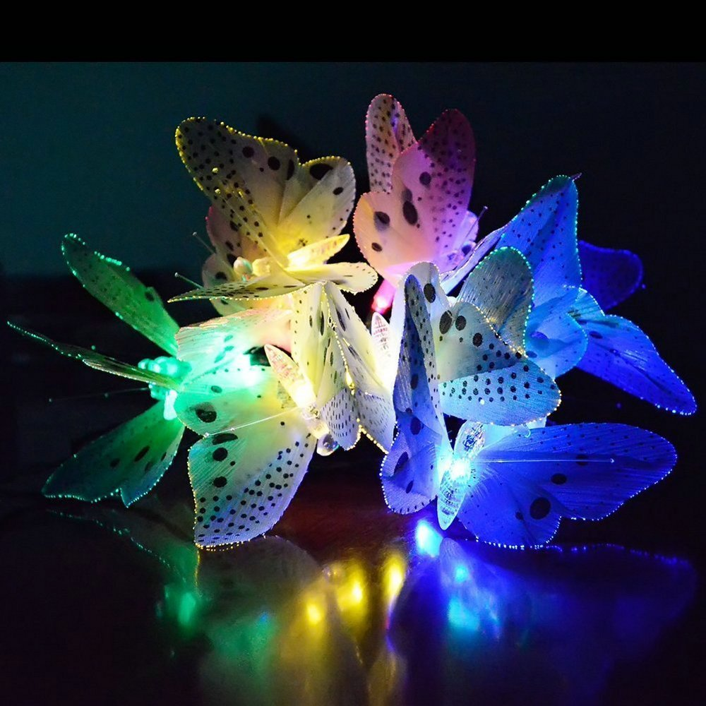 12 Leds Solar Powered Butterfly Fiber Optic Fairy String Outdoor Garden Lights