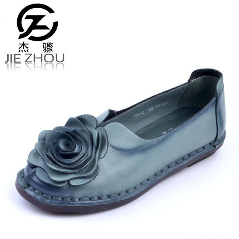 Retro national style handmade leather shoes Large size Genuine Leather Flats Women Shoes Flowers casual elderly shoes obuv spring autumn national style crude heel high heels genuine leather large size women shoes anti skid elderly shoes pumps obuv