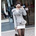 4XL Inverno Novas Mulheres curto Acolchoado PU Jaquetas de couro e Casacos com pele de raposa Do Falso preto/vermelho/cinza/rosa/vinho tinto QY044