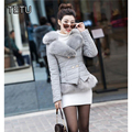 4XL Winter New Women short Quilted PU leather Jackets and Coats with Faux fox Fur black/red/gray/pink/red wine  QY044