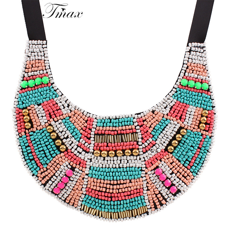 TengMaxi Bead Multicolor Bohemia Necklace&Pendant Statement Choker Necklace ZA For Women Tribal Ethnic Boho Jewelry Metal Bijoux relief tribal ethnic style protective plastic back case for iphone 5 multicolor