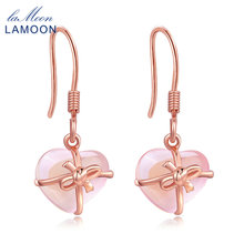 LAMOON 925 Sterling Silver Drop Earrings Fine Jewelry Plated 100% Natural Heart Pink Rose Quartz S925 for womanLMEI012