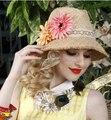 2016 Del Estilo de Europen Playa Muchacha de Las Mujeres de Flores de Paja Lafite Sombrero de la Sombrilla Del Verano Tapa Ajustable