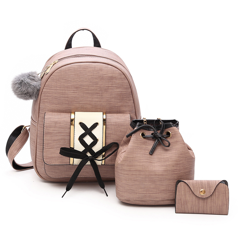Amberler Women PU Leather Backpacks High Quality School Bags For Teenage Girls Travel Bag New Ladies Shoulder 3 Pieces Set Bag