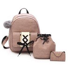 Amberler Women PU Leather Backpacks High Quality School Bags For Teenage Girls Travel Bag New Ladies Shoulder 3 Pieces Set Bag