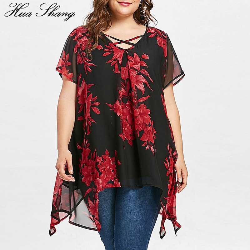 Womens Tops And Blouses Plus Size Women Clothing V Neck Short Sleeve Floral Boho Blouse Chiffon Irregular Ladies Tunic Tops