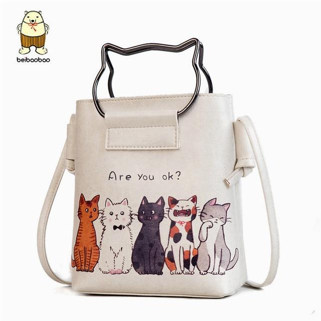 ecf2bb33161a Beibaobao Crossbody Bags Ring Portable Handle Messenger Bags Cats Horses  Design Teenager Girl Single Shoulder Bag Cute Cartoon