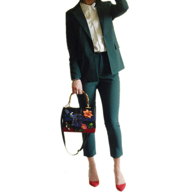 Spring Women Suits Pants Office Sets Elegant Blazer Suit Set Two Pieces Set  Business Suits Slim Work Wear Female Jacket Pants b0636005c6