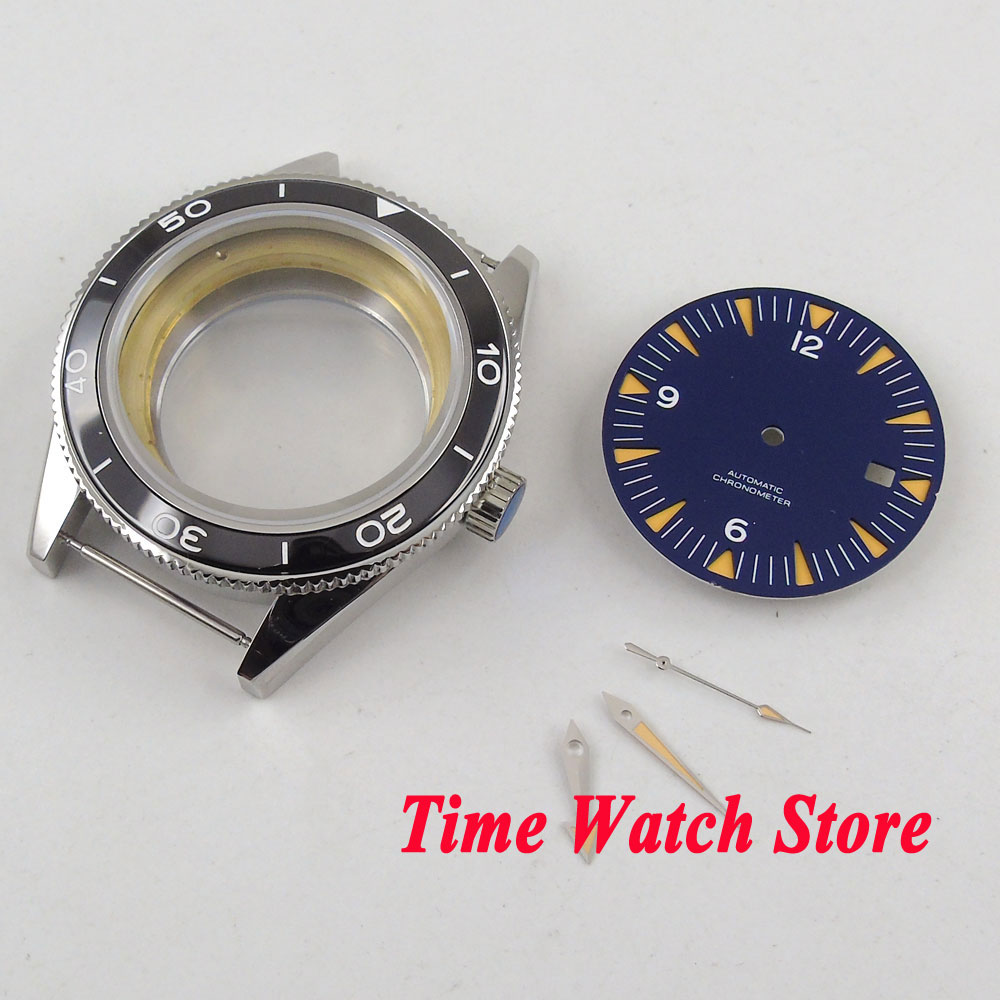 41mm 316L stainless steel watch case black ceramic bezel sapphire glass +blue dial+hands Fit ETA 2836 MIYOTA 8215 movement C133 цена и фото