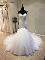 New Style Beach Wedding Dresses 2018 Sweetheart Neck Spaghetti Strap Court Train Appliques Tulle Bridal Gowns