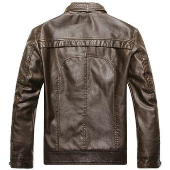TIEPUS winter jacket men's plus velvet warm leather jacket men's stand collar solid color washed motorcycle leather jacket men