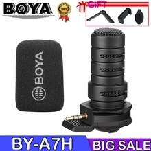 BOYA By-A7H Mic 3.5Mm Jack Phone Microphone Digital Stereo Condenser Mobile Phone Record Microphone Port Recording Interview F boya by pm700 usb condenser microphone with flexible polar pattern for windows and mac computer recording interview conference