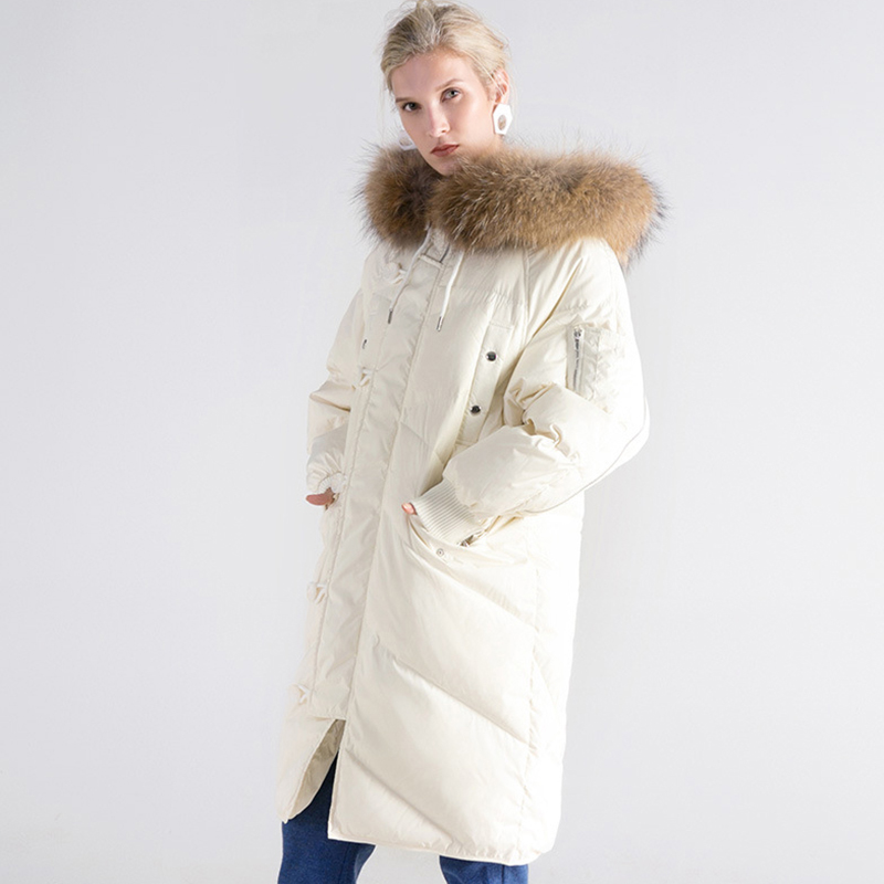 2017 white duck down coats winter Thicken Warm Woman Down jacket Coat Parkas Outerwear Raccoon Fur collar long plus size QH0916 2015 new hot winter thicken warm woman down jacket coat parkas outerwear hooded splice mid long plus size 3xxxl luxury cold