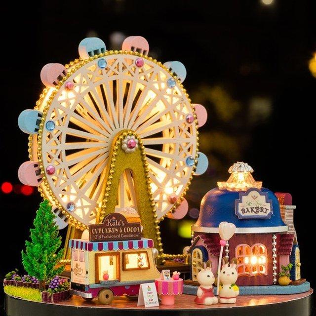 Ferris Wheel Christmas Music Box Sky City Diy Wooden Music Box Girls