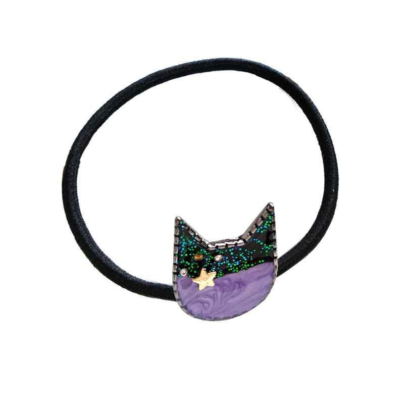 Nhật Bản Dễ Thương Màu Sắc Tương Phản Meow Cat Cao Su Nữ Cô Gái Bầu Trời Đầy Sao Lấp Lánh Kim Cương Giả Tóc Dây Trang Sức Đuôi Ngựa Giá Đỡ