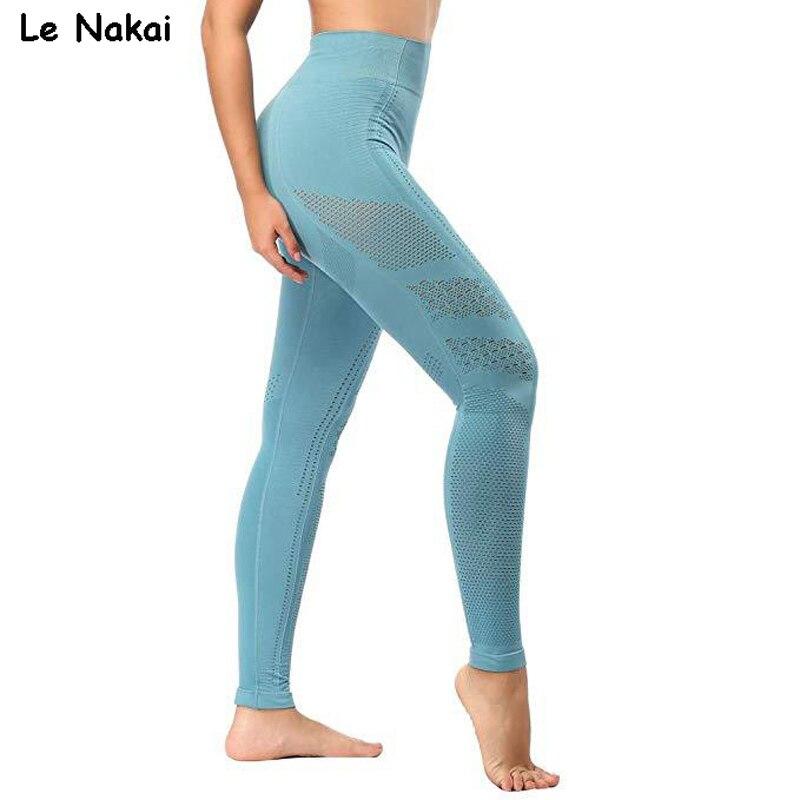New Women Eyelet Knit Seamless Yoga Leggings High Waisted Tummy Control Gym Leggings Sports Pants Fitness Workout Flex Leggings
