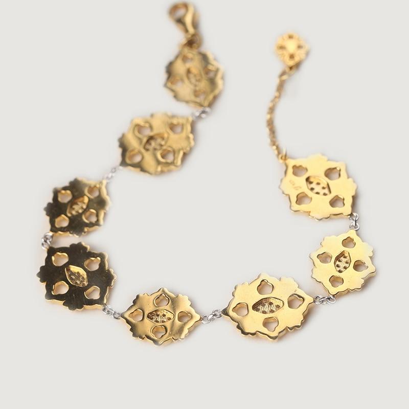 Cmajor S925 Sterling Silver Bracelets Ethnic Vintage Cross Flower Charm Bracelets For Women