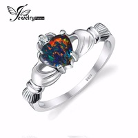 Black Fire Opal Multicolor Irish Claddagh Rainbow Ring Solid 925 Sterling Silver Love Heart Gemstone Jewelry