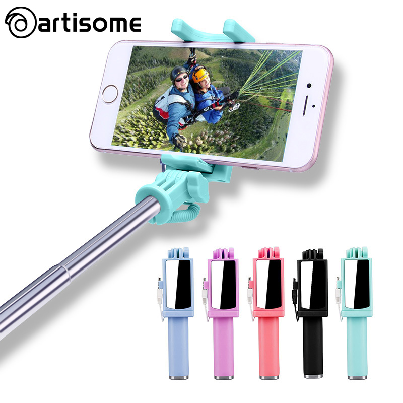 Universal Selfie Stick For iPhone 5 5S SE 5C 6 6S Plus Monopod Wired Mini Sport Selfie Stick For IOS Androic Perche Selfi Stick maped gom stick universal