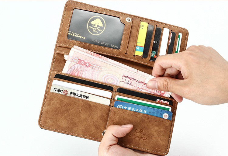 Canvas Denim Men's Long Wallet Fashion Casual Business Male Student Jean Fabric Money Purse With Card Holder Wallets 2 Fold (3)