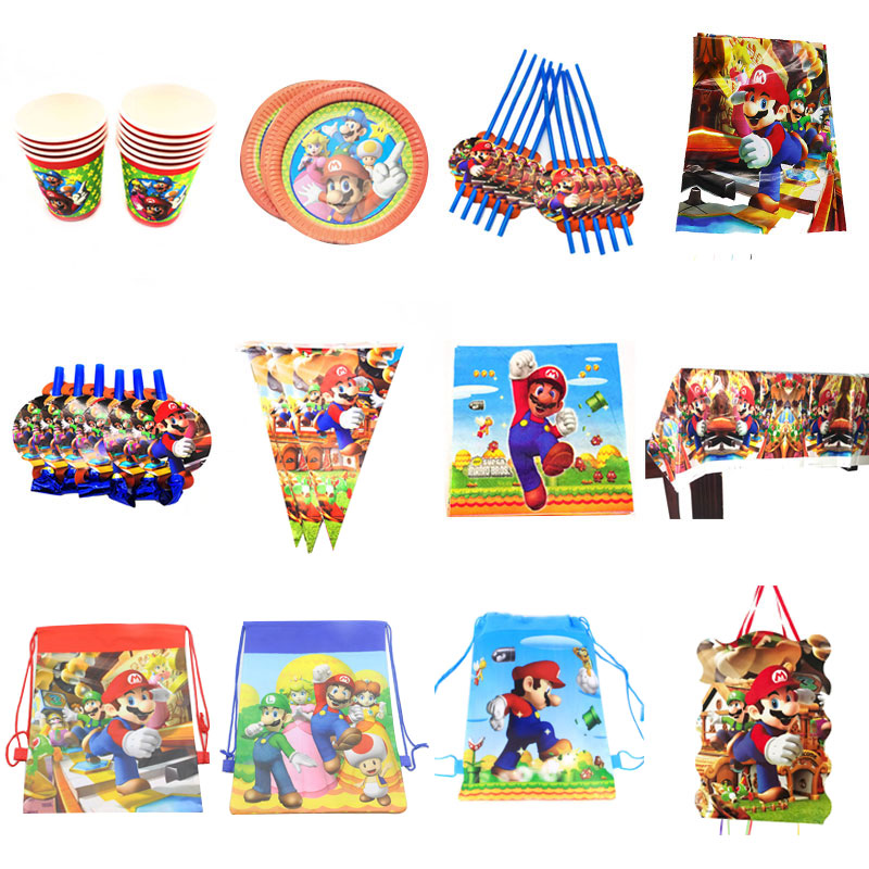 Super Mario thema einweg teller tassen servietten Mario Bros themed party dekorationen candy boxen reifenplatzer banner partei liefert