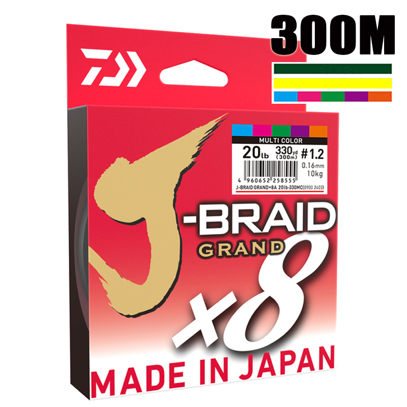 The Best Price 300M DAIWA J-BRAID GRAND Braided PE Line Super Strong Japan Monofilament Braided Fishing Line Wholesale