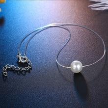 Модное ожерелье из прозрачной лески, простая невидимая цепочка, Женское Ожерелье, чокер с белым жемчугом, ожерелье для женщин 2021