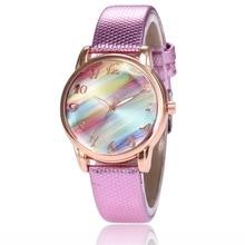 лучшая цена Women Luxury Brand Leather Watches Fashion Colored Fritillary Quartz Wrist Watch Girls Casual Dress Watch Relogio Feminino Clock
