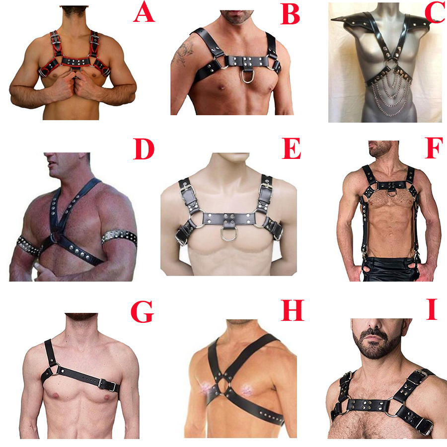 Men's PU Leather Chest Body Harness Strap, Punk Gothic Belt Cosplay Clubwear Costume,Halloween Costume