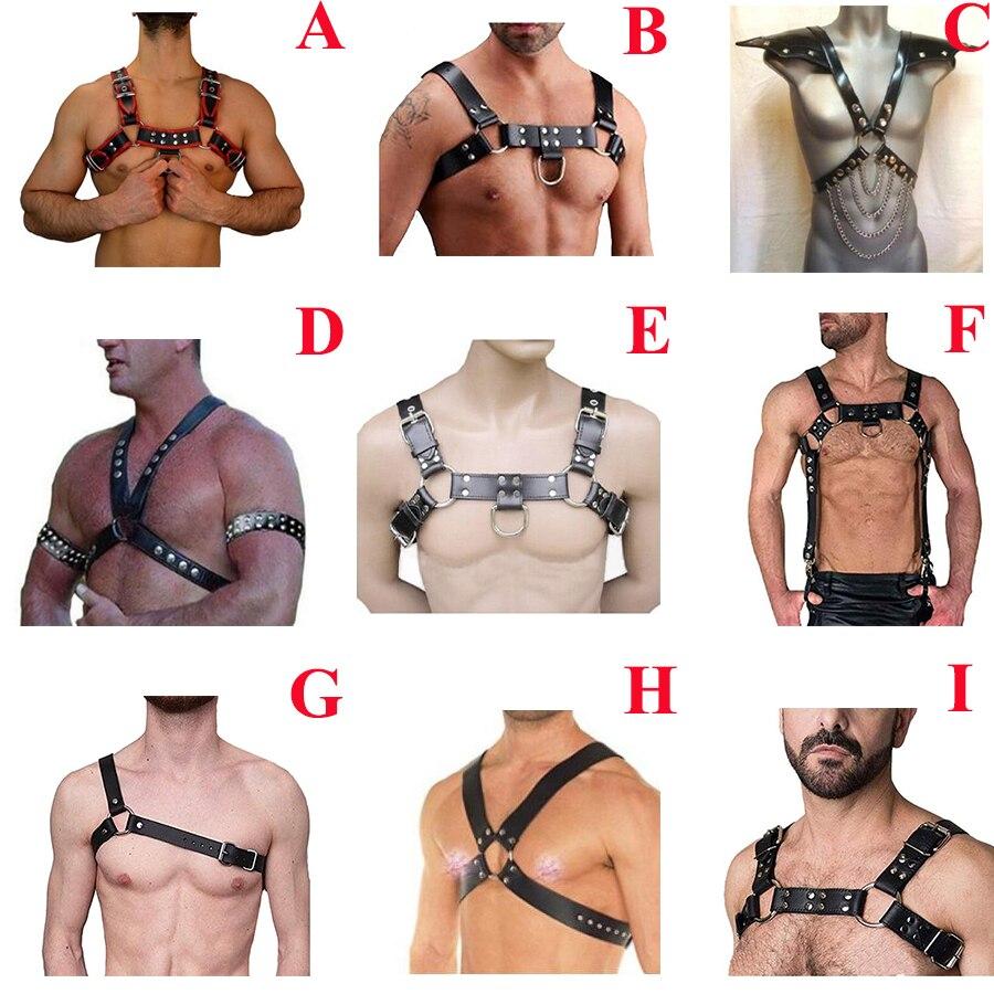 Men's PU Leather Chest Body Harness Strap, Punk Gothic Belt Cosplay Clubwear Costume,Halloween Costume