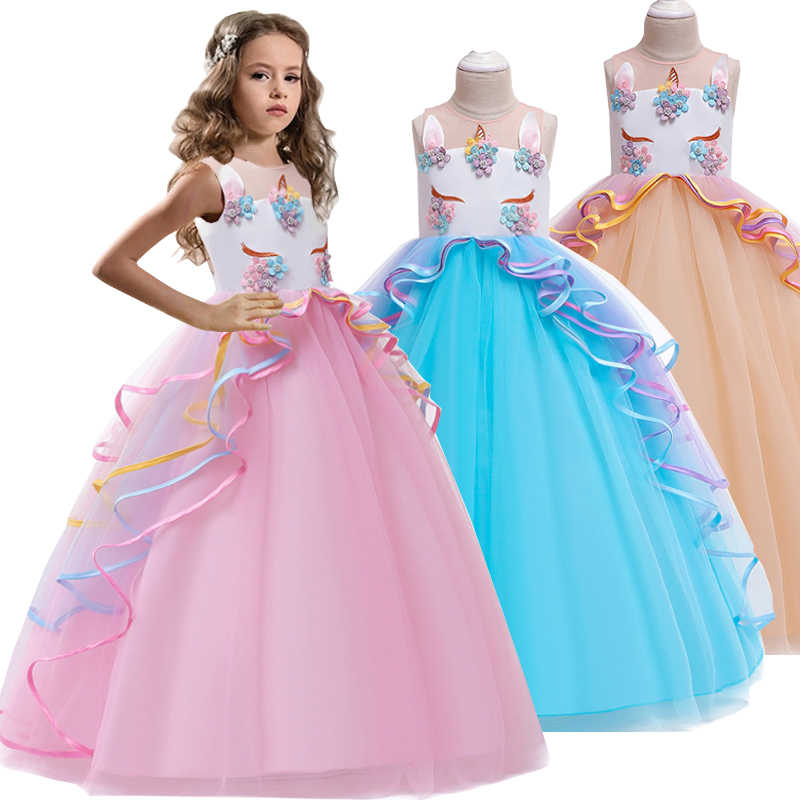 Summer High-grade birthday evening party child wedding dresses 4-14Y girls Embroidered applique unicorn long dress