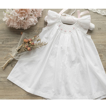 Girls summer dress white smocking embroidery baby d