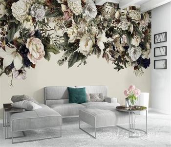 Photo 3d Wallpaper Modern minimalist Nordic retro flower American flower HD Superior Interior Decorations Wall paper american interior
