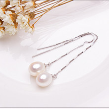 Pearl earrings Real natural freshwater pearls 925 sterling silver Earings fashion jewelry Korean Long pearl