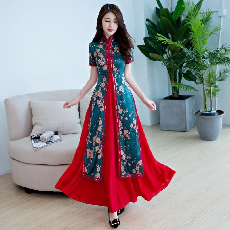 Mode Im Chinesischen stil frauen Lange Cheongsam Neue Ankunft Rayon Kleid Sommer elegante Schlanke Qipao Vestidos Größe S M L XL XXL XXXL-in Kleider aus Damenbekleidung bei  Gruppe 1
