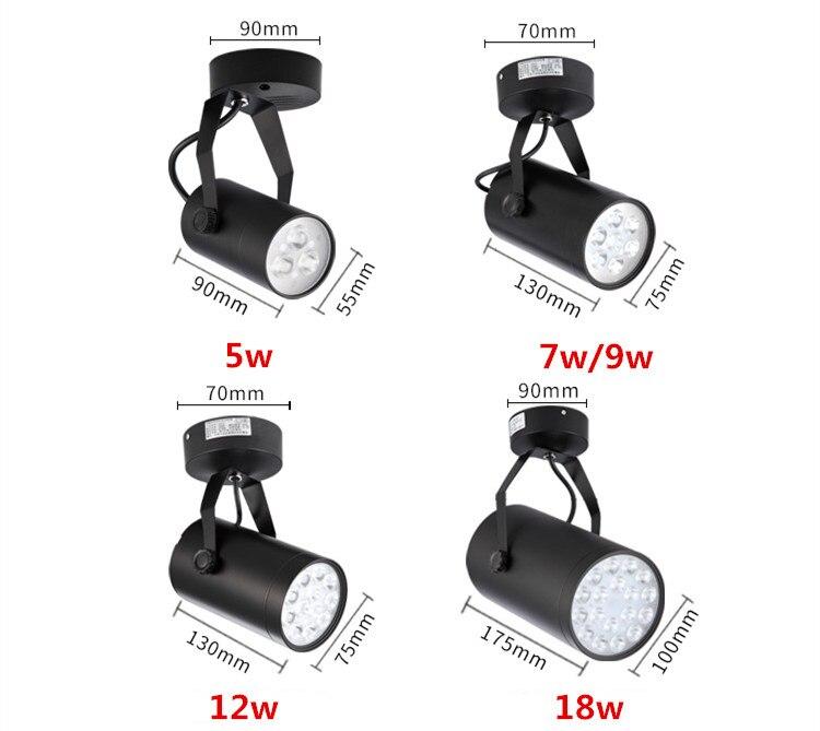 NEW LED COB Track Rail Light AC85- 265V Spotlight Adjustable Rail Track Lighting lamp for Mall Exhibition Office black/white